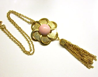 Vintage Pink Pendant Necklace Large Gold Eternity Circle Tassels Necklace Gift for Her under 20 Gift Idea Jewelry