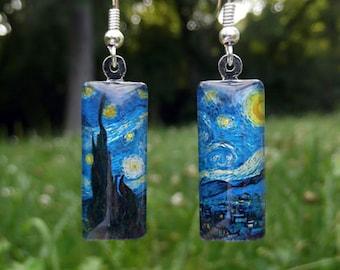 Starry Night earrings, Van Gogh earrings, small glass earrings, birthday gift, Christmas, Hanukkah