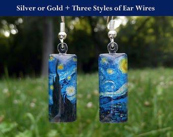 Starry Night earrings, Van Gogh earrings, art earrings, Van Gogh Starry Night jewelry, small glass earrings, classic art jewelry