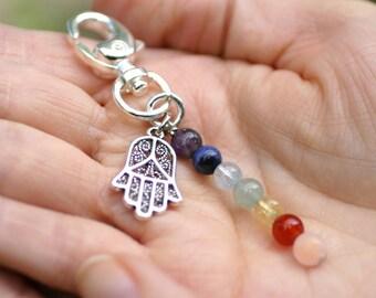 7 Chakra, Hamsa, Fertility Gemstone, Keychain, Infertility, IVF, IUI, TTC, Hand-of-Mary, Mala, Yoga, Om, Fertility Charm, Reiki Healing
