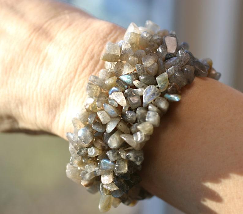 Fertility Bracelet  Labradorite Stretchy CUFF Bracelet your image 0