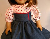 Denim and hearts corset style short sleeve dress fits 18 inch dolls 480