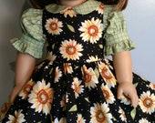 Summer sunflowers set, dress and petticoat fits 18 inch dolls 521