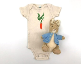 Spring Carrot Bodysuit - American Apparel Organic Cotton Natural Onepiece - hand screen printed