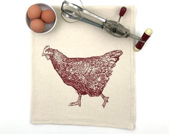 Chicken Flour Sack Towel - Deluxe Natural Tea Towel - Hand Screen Printed - Spring Chicken