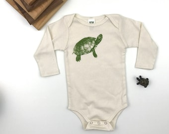 Turtle Long sleeve Bodysuit - Organic Cotton Natural Onepiece - hand screen printed - made in America