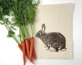 Bunny Rabbit Flour Sack Towel - Deluxe Natural Tea Towel - Hand Screen Printed - Perfect Hostess  Gift