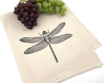 Dragonfly Flour Sack Towel - Deluxe Natural Tea Towel - Hand Screen Printed