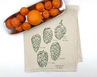 Varieties of Hops Flour Sack Towel - Deluxe Natural Tea Towel - Hand Screen Printed - Perfect for the beer lover