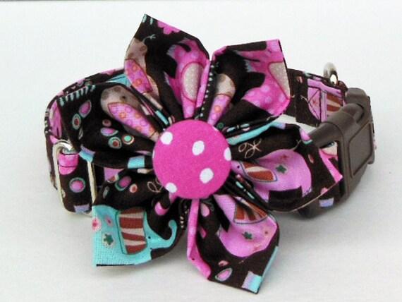 Collier de chien réglable fleur ensemble-éléphant - fabriqué sur commande