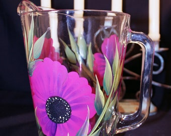 Hand Painted Glass Pitchers   (1)