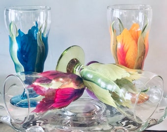 Hand Painted Ice Tea, Smoothie Water Glasses (1) Hand Painted Flower Design-Hand painted Stemware, Wedding Drink-ware, Cooler Glasses