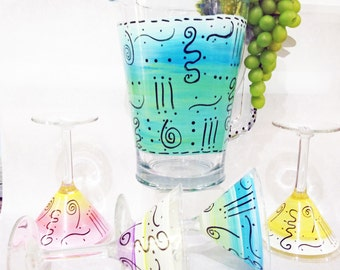 Hand Painted Martini Set of (5), Festive Party Design Glasses, Lines and Squiggles
