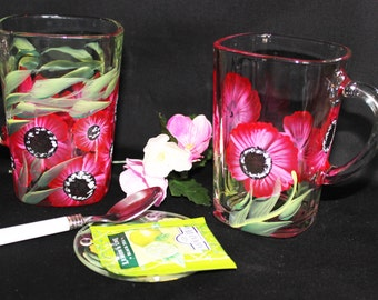 Hand Painted Mug Glass (2) Mug Glass Coffee Cup Tea Cup Personal Hand Painted Coffee Cup  Flower Cup Glass Mug Clear Coffee Cup