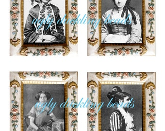 "Digital Collage Sheet - Clip Art Elements- Digital Scrapbooking-"" The Way We Were 1 and 2"" Victorian Frame and Images"