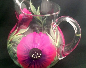 Hand Painted Acapulco Glass Pitchers (1)