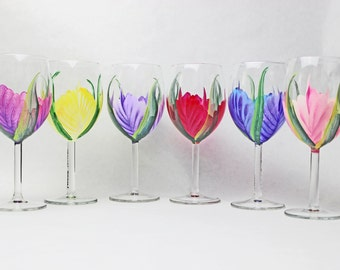 Stemware Hand Painted, Hand Painted wine glass, Wedding Drinkware, 1 (one) Glass