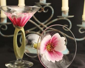 Hand Painted Martini Glasses, set of (2) Wedding Drinkware, Hand painted Flowers on glass , Birthday Glass