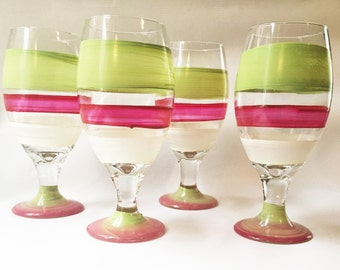 Hand Painted Ice Tea or Water Glasses (2) -Hand Painted   Design-Hand painted Stemware, Wedding Drink-ware, Cooler Glasses