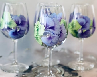 Custom painted, Hand painted wine glass, Stemware,  (1) Hand Painted Floral Wine Glass, Bridesmaid Birthday Gift, Free Personalization