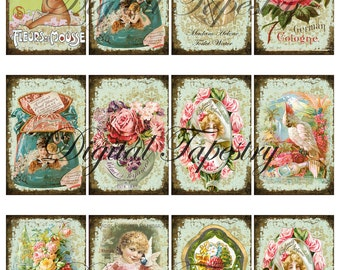"Digital Collage Sheet - Clip Art Elements- Digital Scrapbooking-"" Art Nouveau Vintage Perfumes"""