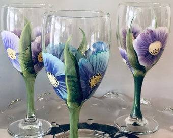 Wine Glass-Hand Painted  (1) glassware, party , wedding, bridal gift