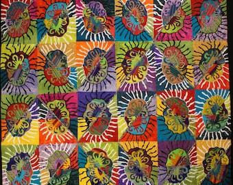 Handmade Art Quilt - Bright Creatures