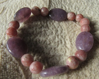 Pink and Purple Lepidolite Bracelet, Hug n Kiss, Healing Stone,Gemstone Synergy, Joy and Happiness