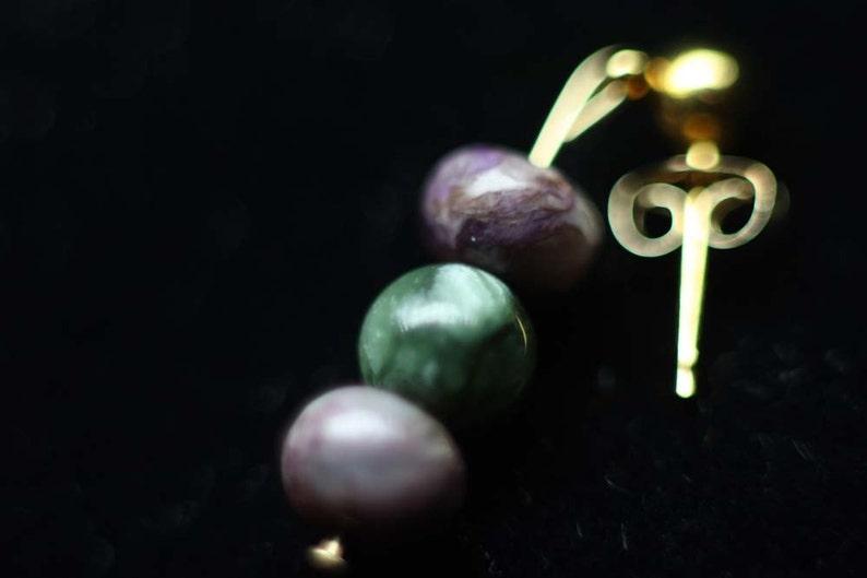 Charoite Help Me Serve Natural Gemstone Synergy Healing Stone Earrings post earrings Green and Purple Seraphanite 14k gold filled