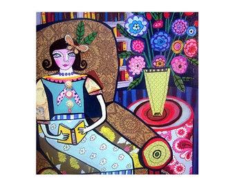 huge sale flapper girl art deco ceramic tile by artist heather galler roaring 20s 1920s paris umberla coaster gift