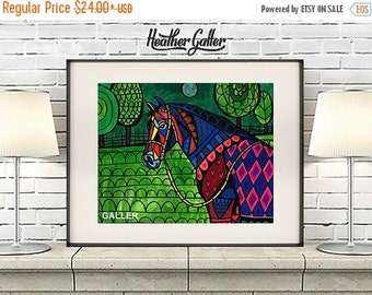 40 off today horse art poster print of painting by heather galler equine decor horse lover gift