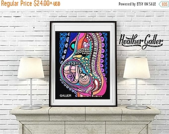 huge sale pregnancy art art print poster by heather galler of modern science abstract pregnant woman baby fetus hg777