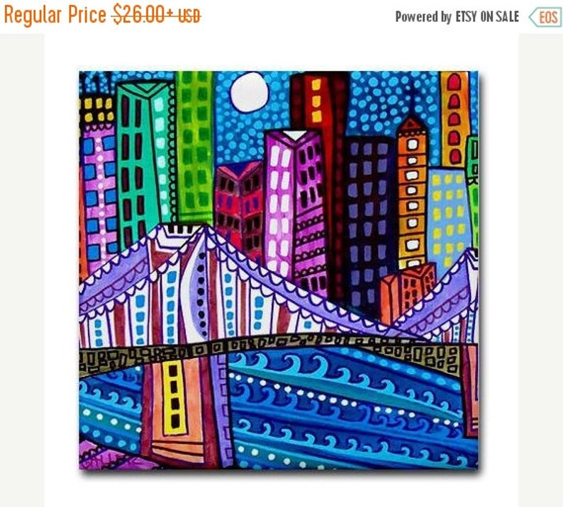 New york City art Tile Ceramic Coaster Mexican Folk Art Print of painting by Heather Galler FLASH SALE