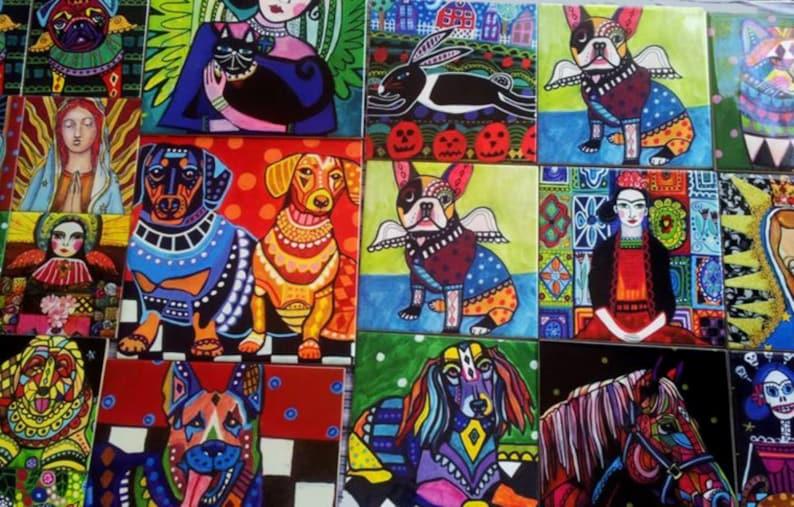 FLASH SALE Mexican Angel Folk Art Ceramic Tile  Virgin of Guadalupe Art  Mexican Talavera Tiles Gift COASTER Gift