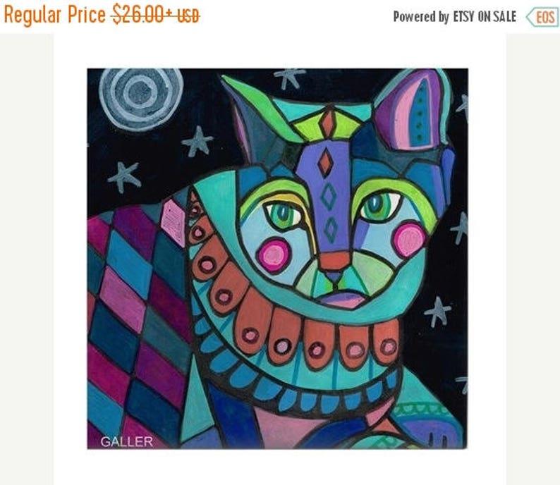 FLASH SALE - Moonlight Cat Folk art Tile Ceramic Coaster Folk Art Print of  painting by Heather Galler