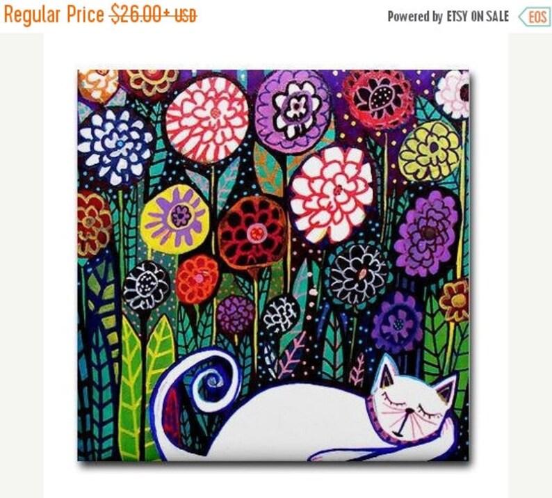 FLASH SALE Cat art Tile Ceramic Coaster  Folk Art Print of painting by Heather Galler