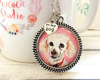 Custom Poodle Necklace, Poodle Jewelry, Custom Pet Portrait Necklace, Pet Portrait Custom, Pet Lover Gifts, Pet Loss Gifts, Dog Gifts