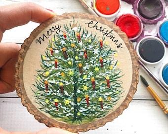 Christmas Tree Ornament, Christmas Decorations, Christmas Ornament, Hand painted Ornament, Merry Christmas, Holiday Ornament, Christmas Gift