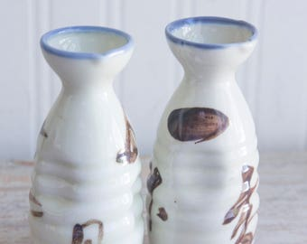 Vintage Soy Sauce Bottles, Japan Pottery Condiment Jar, Japanese Cooking Eating Utensils Gray Brown Blue