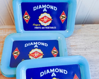 Vintage Tip Tray, Diamond A Oregon, Fruit and Vegetables, Eugene Fruit Growers, 1950's Advertising Blue Aluminum