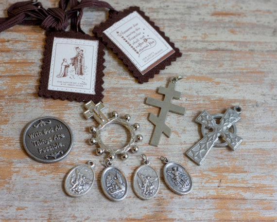 Vintage Catholic Religious Medals and Charms, 1940s 50's St Michael,  Guardian Angels, Assemblage Art Pendant Pieces, Cross Crucifix
