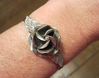 On HOLD 5/28 Vintage STerling Silver Rose Flower Bracelet Mexican Silver