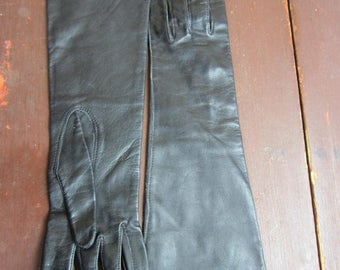 On Sale Vintage kid leather Opera Gloves New Old stock 1960s Dawnelle Silk lined Black