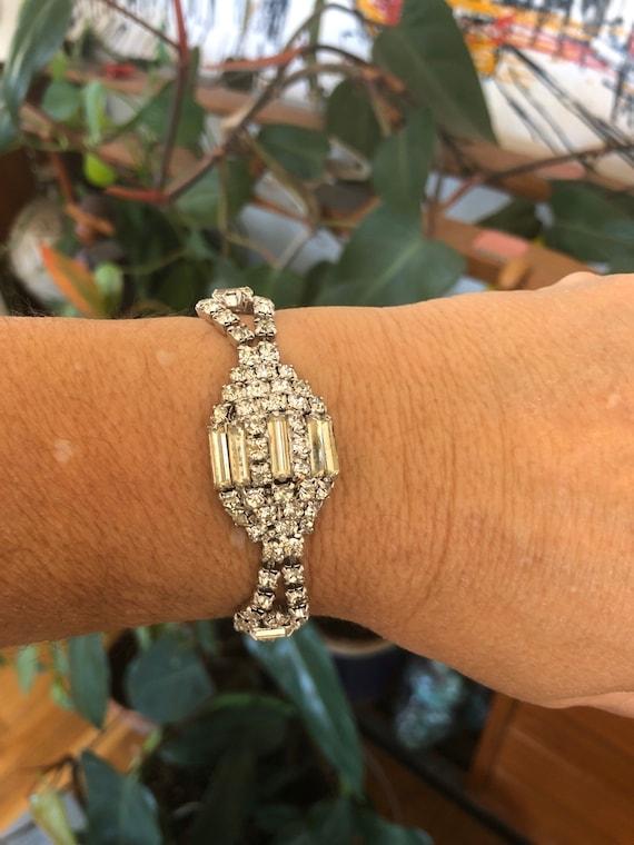 1960s Weiss Rhinestone Bracelet - wedding Jewelry