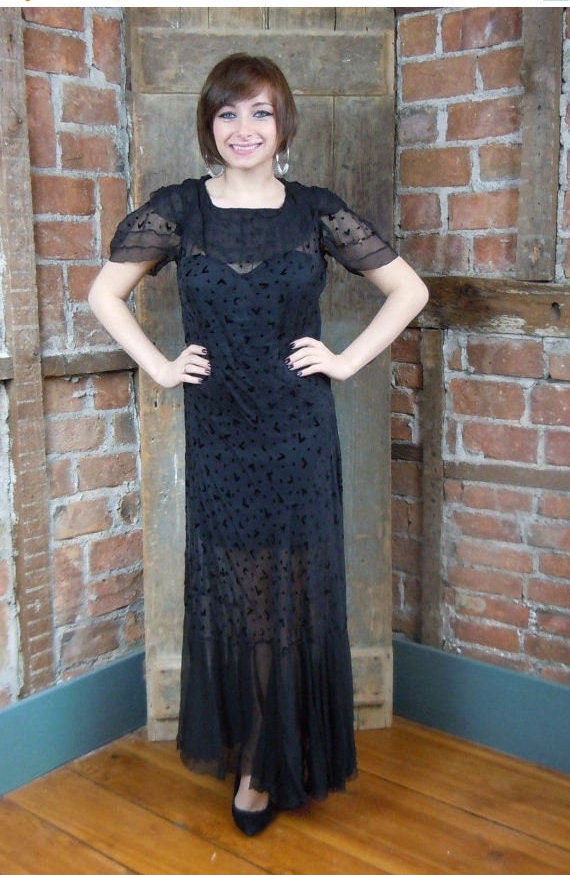 1930s Black Gown Dress  Goth Wedding