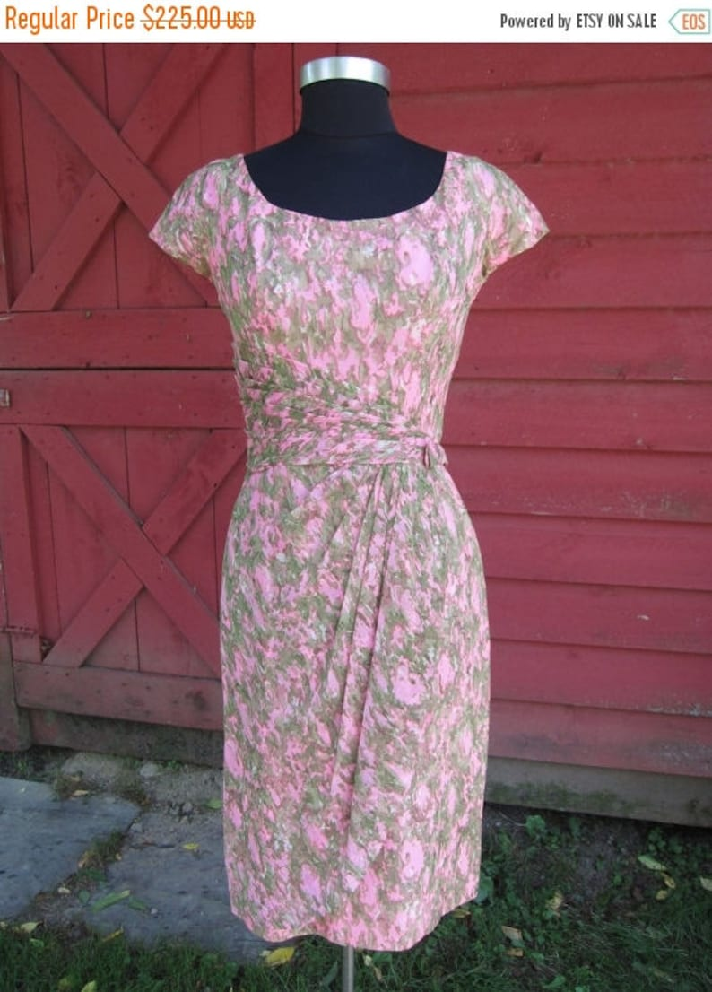 On Sale 1950's Vintage Dress Pink-Green Ruched Hourglass Designer-Couture,  Asymmetric-Drape Sleeveless Nipped-Waist Rockabilly Pencil skirt
