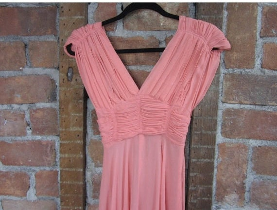 1930s Coral Gown Dress /  Vintage Wedding - image 2