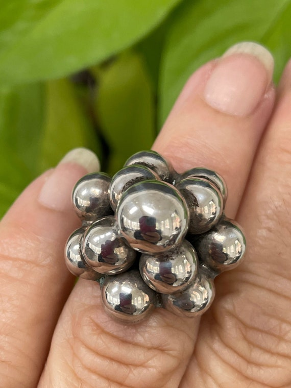 Sterling silver Ring Bubble Dome Ring - Mid Centur