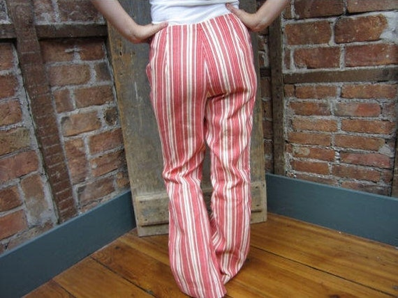 1960's Pants . Red & white Striped Bell Bottoms .