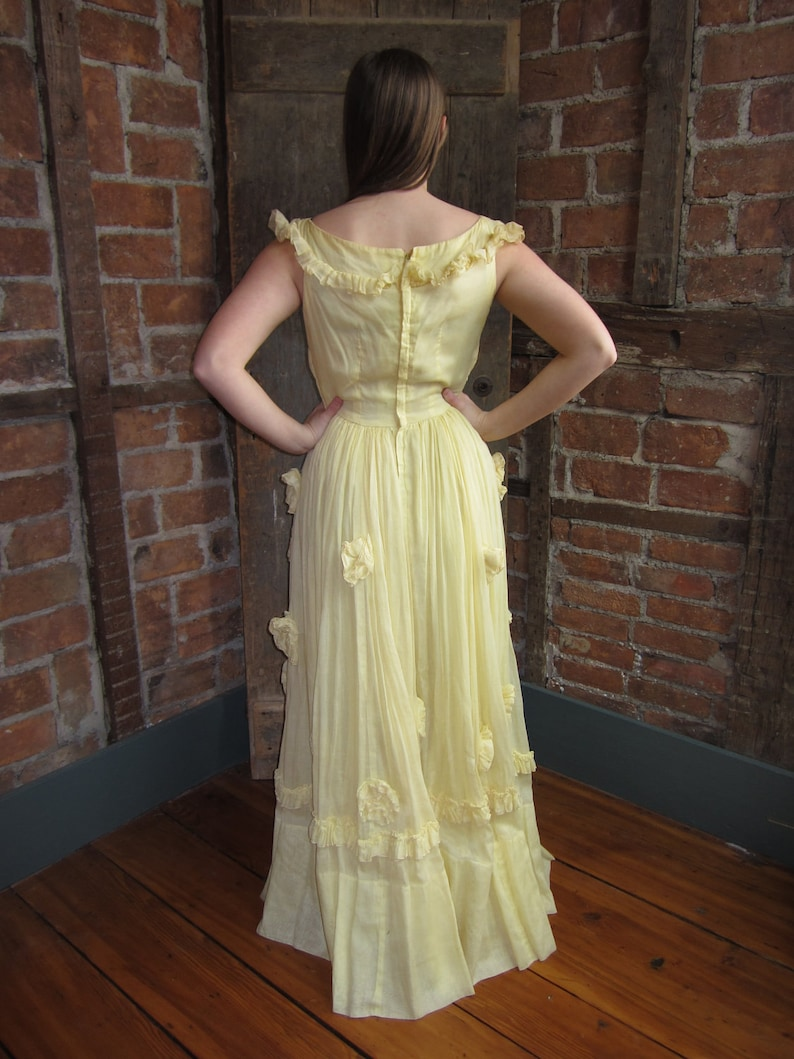 2d098136c0749 On Sale Vintage 1960s Gown Southern Bell-Floral Yellow Dress-Layered Prom  Party Wedding Summer Spring